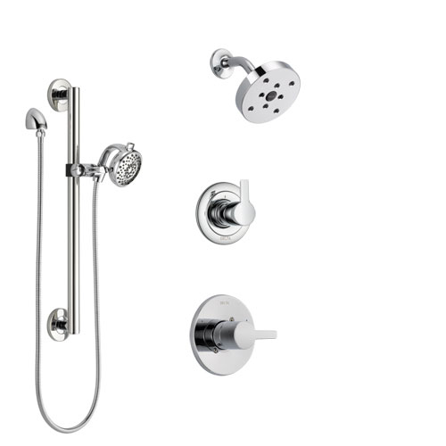 Delta Compel Chrome Finish Shower System with Control Handle, 3-Setting Diverter, Showerhead, and Hand Shower with Grab Bar SS1426115