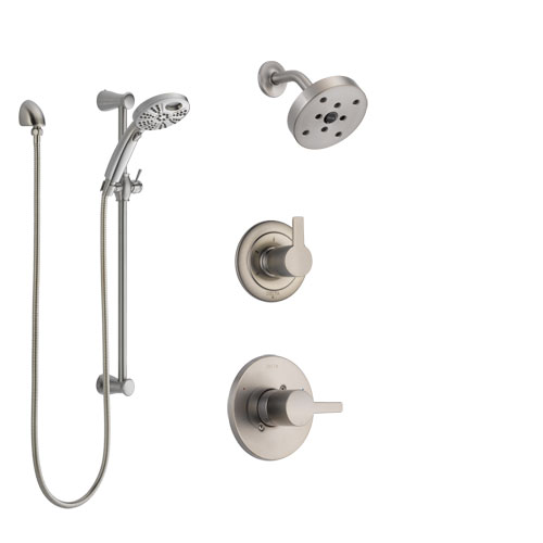 Delta Compel Stainless Steel Finish Shower System with Control Handle, 3-Setting Diverter, Showerhead, & Temp2O Hand Shower with Slidebar SS142611SS4