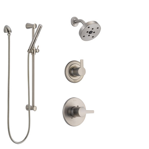 Delta Compel Stainless Steel Finish Shower System with Control Handle, 3-Setting Diverter, Showerhead, and Hand Shower with Slidebar SS142611SS5