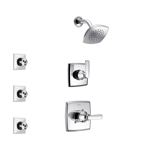 Delta Ashlyn Chrome Finish Shower System with Control Handle, 3-Setting Diverter, Showerhead, and 3 Body Sprays SS1426412