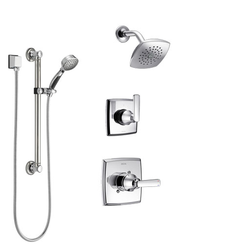 Delta Ashlyn Chrome Finish Shower System with Control Handle, 3-Setting Diverter, Showerhead, and Hand Shower with Grab Bar SS1426415