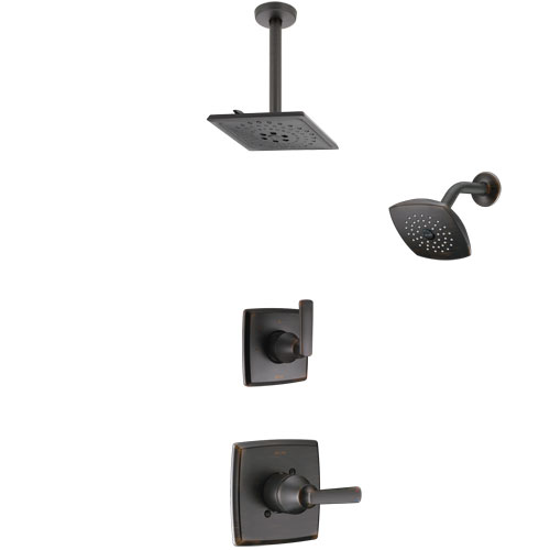 Delta Ashlyn Venetian Bronze Finish Shower System with Control Handle, 3-Setting Diverter, Showerhead, and Ceiling Mount Showerhead SS142641RB6