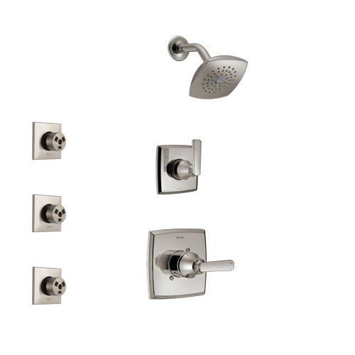 Delta Ashlyn Stainless Steel Finish Shower System with Control Handle, 3-Setting Diverter, Showerhead, and 3 Body Sprays SS142641SS1