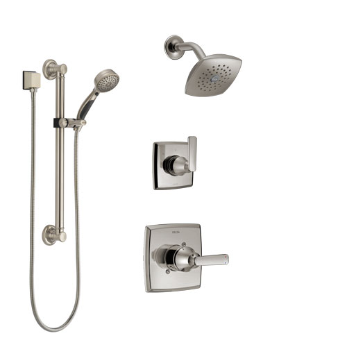 Delta Ashlyn Stainless Steel Finish Shower System with Control Handle, 3-Setting Diverter, Showerhead, and Hand Shower with Grab Bar SS142641SS3