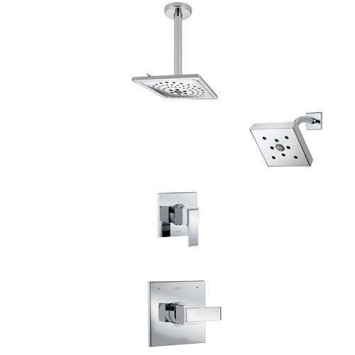 Delta Ara Chrome Finish Shower System with Control Handle, 3-Setting Diverter, Showerhead, and Ceiling Mount Showerhead SS1426713