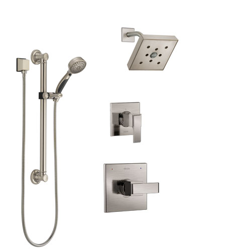 Delta Ara Stainless Steel Finish Shower System with Control Handle, 3-Setting Diverter, Showerhead, and Hand Shower with Grab Bar SS142671SS3