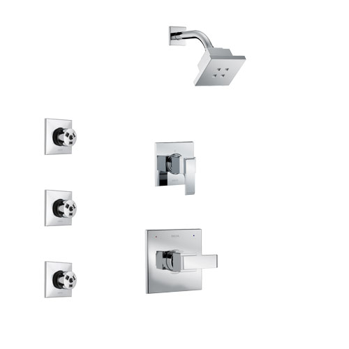Delta Ara Chrome Finish Shower System with Control Handle, 3-Setting Diverter, Showerhead, and 3 Body Sprays SS1426721