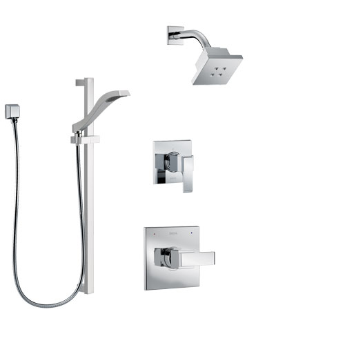 Delta Ara Chrome Finish Shower System with Control Handle, 3-Setting Diverter, Showerhead, and Hand Shower with Slidebar SS1426723