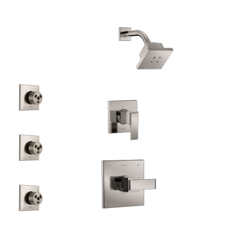 Delta Ara Stainless Steel Finish Shower System with Control Handle, 3-Setting Diverter, Showerhead, and 3 Body Sprays SS142672SS2