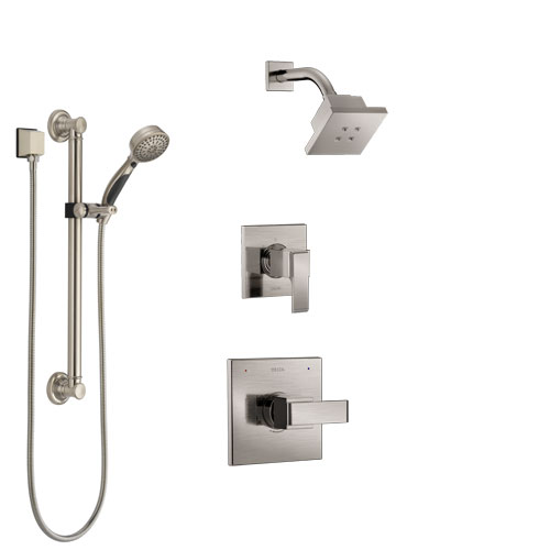 Delta Ara Stainless Steel Finish Shower System with Control Handle, 3-Setting Diverter, Showerhead, and Hand Shower with Grab Bar SS142672SS3