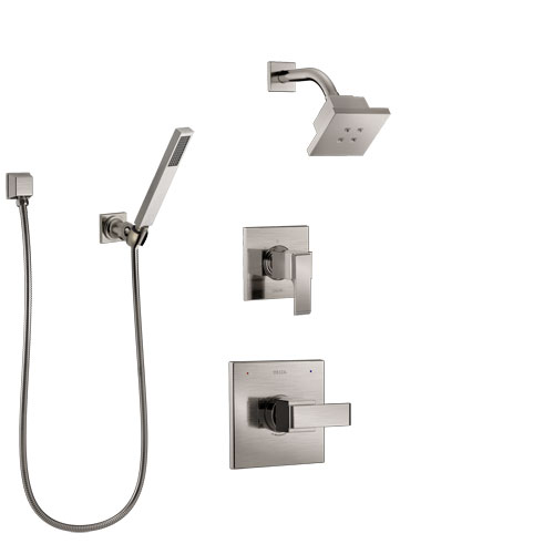 Delta Ara Stainless Steel Finish Shower System with Control Handle, 3-Setting Diverter, Showerhead, and Hand Shower with Wall Bracket SS142672SS4
