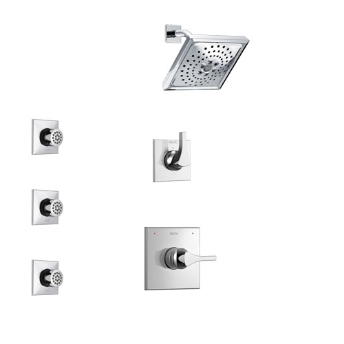 Delta Zura Chrome Finish Shower System with Control Handle, 3-Setting Diverter, Showerhead, and 3 Body Sprays SS142741