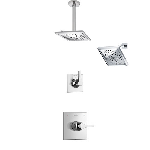 Delta Zura Chrome Finish Shower System with Control Handle, 3-Setting Diverter, Showerhead, and Ceiling Mount Showerhead SS142743