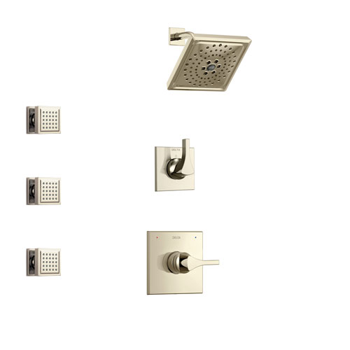 Delta Zura Polished Nickel Finish Shower System with Control Handle, 3-Setting Diverter, Showerhead, and 3 Body Sprays SS14274PN1
