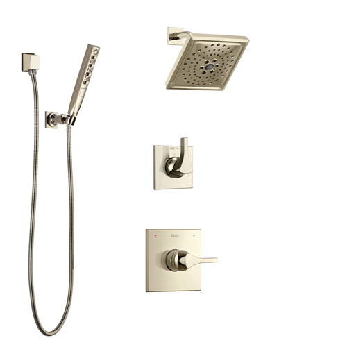 Delta Zura Polished Nickel Finish Shower System with Control Handle, 3-Setting Diverter, Showerhead, and Hand Shower with Wall Bracket SS14274PN2