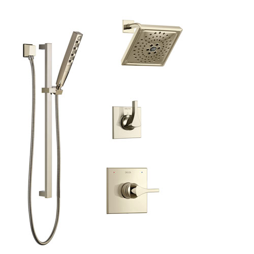 Delta Zura Polished Nickel Finish Shower System with Control Handle, 3-Setting Diverter, Showerhead, and Hand Shower with Slidebar SS14274PN3