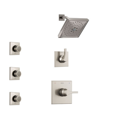 Delta Zura Stainless Steel Finish Shower System with Control Handle, 3-Setting Diverter, Showerhead, and 3 Body Sprays SS14274SS2