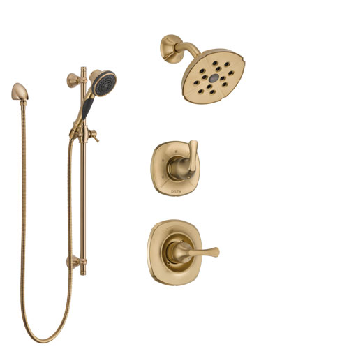Delta Addison Champagne Bronze Finish Shower System with Control Handle, 3-Setting Diverter, Showerhead, and Hand Shower with Slidebar SS14292CZ2