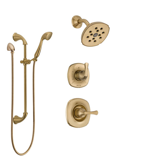 Delta Addison Champagne Bronze Finish Shower System with Control Handle, 3-Setting Diverter, Showerhead, and Hand Shower with Slidebar SS14292CZ3