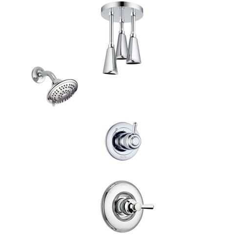 Delta Linden Chrome Finish Shower System with Control Handle, 3-Setting Diverter, Showerhead, and Ceiling Mount Showerhead SS142936