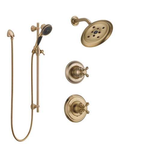 Delta Cassidy Champagne Bronze Finish Shower System with Control Handle, 3-Setting Diverter, Showerhead, and Hand Shower with Slidebar SS142971CZ3