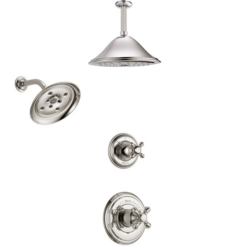 Delta Cassidy Polished Nickel Finish Shower System with Control Handle, 3-Setting Diverter, Showerhead, and Ceiling Mount Showerhead SS142971PN3