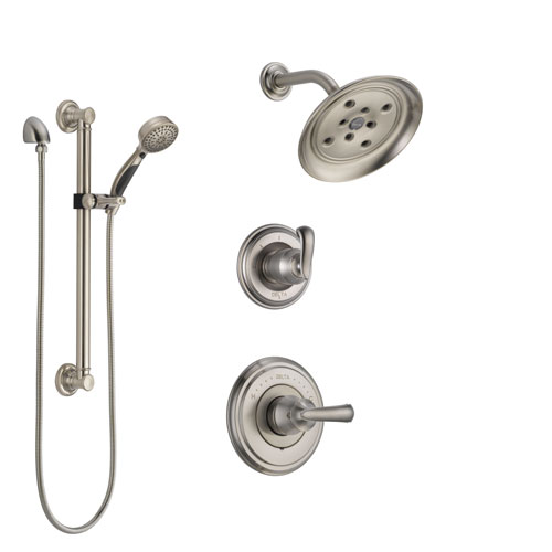 Delta Cassidy Stainless Steel Finish Shower System with Control Handle, 3-Setting Diverter, Showerhead, and Hand Shower with Grab Bar SS142971SS3