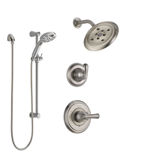 Delta Cassidy Stainless Steel Finish Shower System with Control Handle, 3-Setting Diverter, Showerhead, & Temp2O Hand Shower with Slidebar SS142971SS6