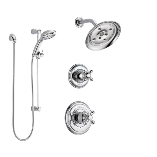 Delta Cassidy Chrome Finish Shower System with Control Handle, 3-Setting Diverter, Showerhead, and Temp2O Hand Shower with Slidebar SS1429724