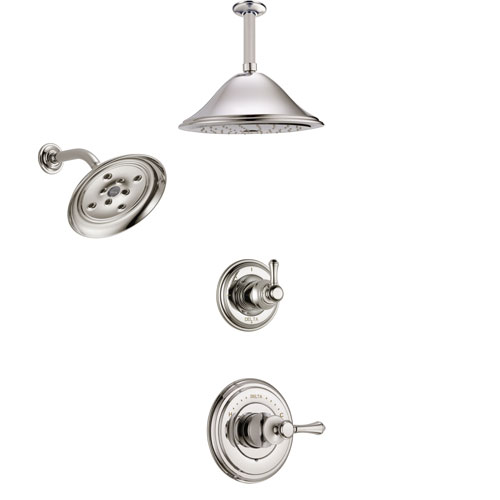 Delta Cassidy Polished Nickel Finish Shower System with Control Handle, 3-Setting Diverter, Showerhead, and Ceiling Mount Showerhead SS142972PN3