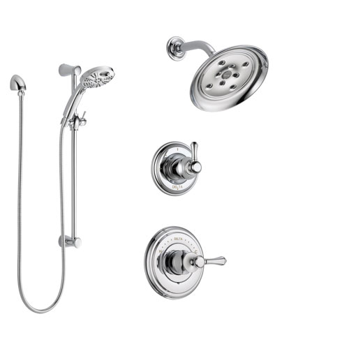 Delta Cassidy Chrome Finish Shower System with Control Handle, 3-Setting Diverter, Showerhead, and Temp2O Hand Shower with Slidebar SS1429734