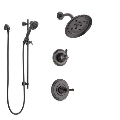 Delta Cassidy Venetian Bronze Finish Shower System with Control Handle, 3-Setting Diverter, Showerhead, and Hand Shower with Slidebar SS142973RB5