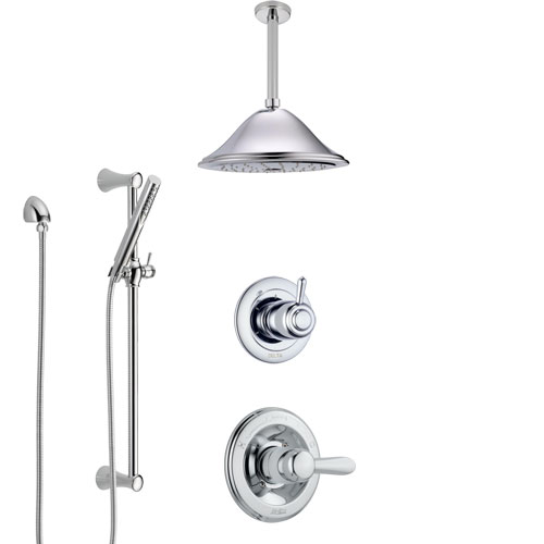 Delta Lahara Chrome Finish Shower System with Control Handle, 3-Setting Diverter, Ceiling Mount Showerhead, and Hand Shower with Slidebar SS14385