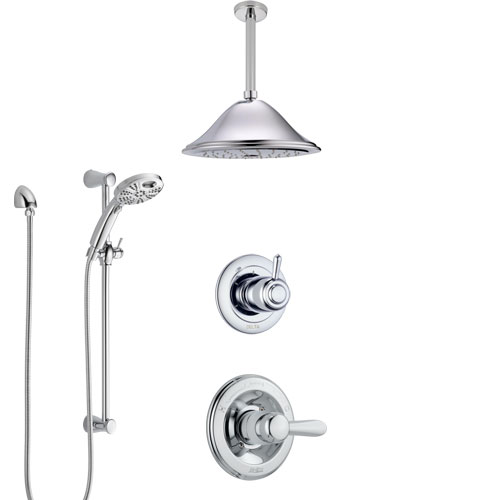 Delta Lahara Chrome Finish Shower System with Control Handle, 3-Setting Diverter, Ceiling Mount Showerhead, & Temp2O Hand Shower with Slidebar SS14386