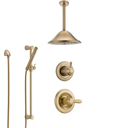 Delta Lahara Champagne Bronze Shower System with Control Handle, 3-Setting Diverter, Ceiling Mount Showerhead, and Hand Shower with Slidebar SS1438CZ4