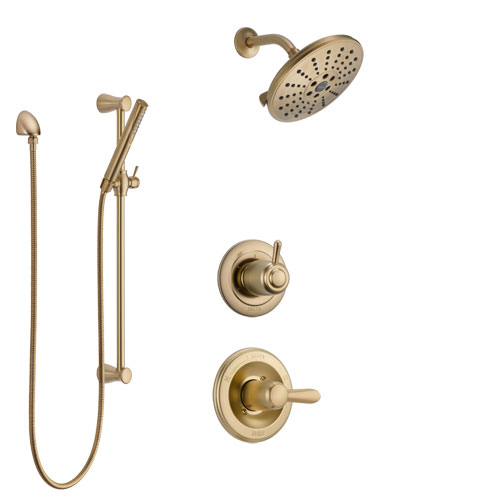 Delta Lahara Champagne Bronze Finish Shower System with Control Handle, 3-Setting Diverter, Showerhead, and Hand Shower with Slidebar SS1438CZ5