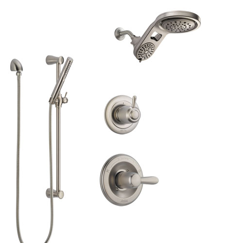 Delta Lahara Stainless Steel Finish Shower System with Control Handle, 3-Setting Diverter, Dual Showerhead, and Hand Shower with Slidebar SS1438SS5