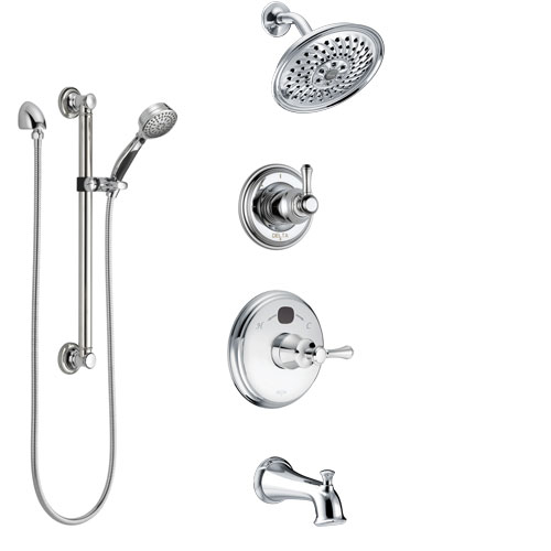 Delta Cassidy Chrome Finish Tub and Shower System with Temp2O Control Handle, 3-Setting Diverter, Showerhead, and Hand Shower with Grab Bar SS144003