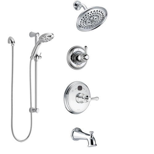 Delta Cassidy Chrome Finish Tub and Shower System with Temp2O Control Handle, 3-Setting Diverter, Showerhead, and Hand Shower with Slidebar SS144004