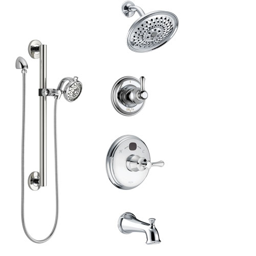 Delta Cassidy Chrome Finish Tub and Shower System with Temp2O Control Handle, 3-Setting Diverter, Showerhead, and Hand Shower with Grab Bar SS144005