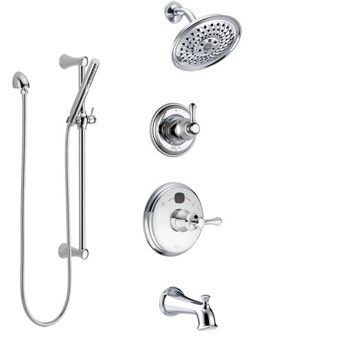 Delta Cassidy Chrome Finish Tub and Shower System with Temp2O Control Handle, 3-Setting Diverter, Showerhead, and Hand Shower with Slidebar SS144006