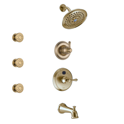 Delta Cassidy Champagne Bronze Finish Tub and Shower System with Temp2O Control Handle, 3-Setting Diverter, Showerhead, and 3 Body Sprays SS14400CZ1