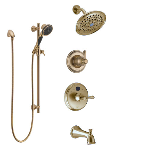Delta Cassidy Champagne Bronze Tub and Shower System with Temp2O Control, 3-Setting Diverter, Showerhead, and Hand Shower with Slidebar SS14400CZ3