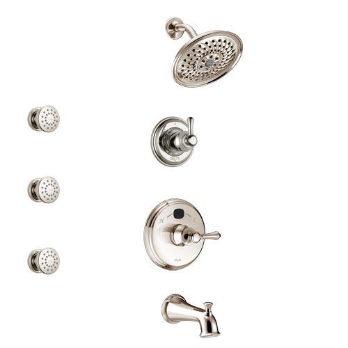 Delta Cassidy Polished Nickel Finish Tub and Shower System with Temp2O Control Handle, 3-Setting Diverter, Showerhead, and 3 Body Sprays SS14400PN1