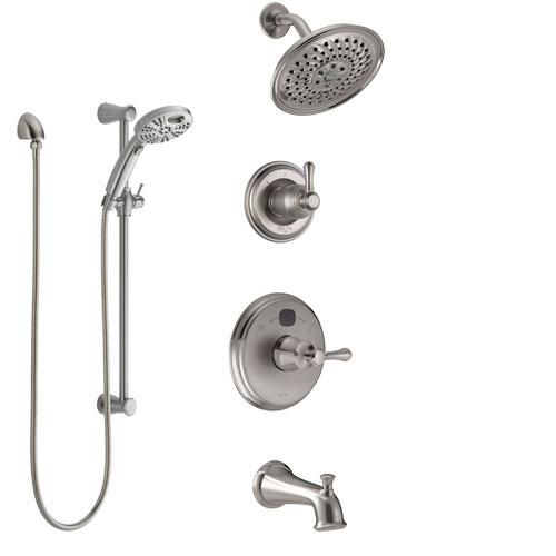 Delta Cassidy Stainless Steel Finish Tub and Shower System with Temp2O Control Handle, Diverter, Showerhead, and Hand Shower with Slidebar SS14400SS4
