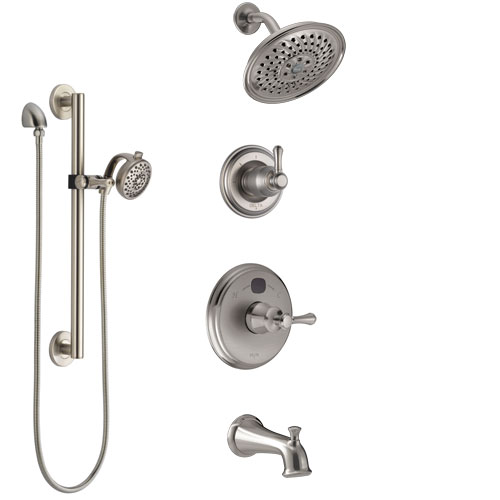 Delta Cassidy Stainless Steel Finish Tub and Shower System with Temp2O Control Handle, Diverter, Showerhead, and Hand Shower with Grab Bar SS14400SS6