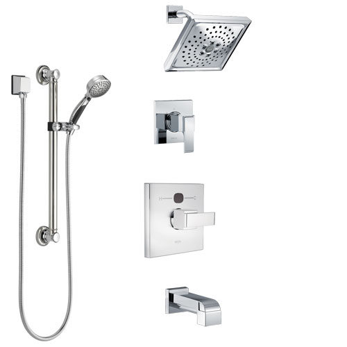 Delta Ara Chrome Finish Tub and Shower System with Temp2O Control Handle, 3-Setting Diverter, Showerhead, and Hand Shower with Grab Bar SS144013