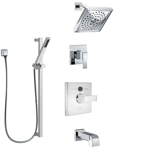 Delta Ara Chrome Finish Tub and Shower System with Temp2O Control Handle, 3-Setting Diverter, Showerhead, and Hand Shower with Slidebar SS144014