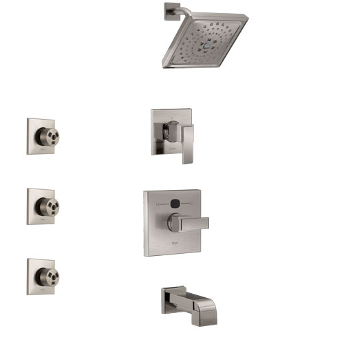Delta Ara Stainless Steel Finish Tub and Shower System with Temp2O Control Handle, 3-Setting Diverter, Showerhead, and 3 Body Sprays SS14401SS2