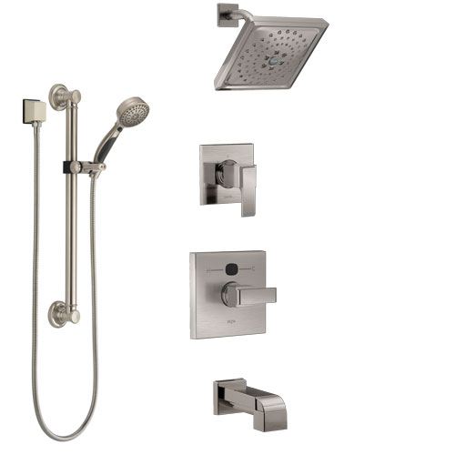 Delta Ara Stainless Steel Finish Tub and Shower System with Temp2O Control, 3-Setting Diverter, Showerhead, and Hand Shower with Grab Bar SS14401SS3